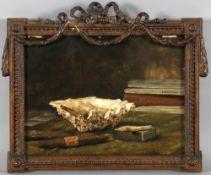 August Holmberg (1851-1911)Stillleben mit Muschel, Zigarren und Büchern, Öl auf Holz, 22,6 x 30,1