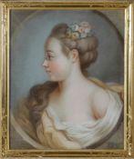 Pastellporträt einer jungen Frau, Frankreich, datiert 1774, wohl Charles A. Huinrechts unten