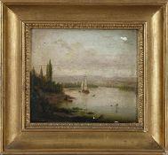 Philipp Janz (Mainz 1813-1885)Rheinlandschaft mit Schiff und Kleinstadt am anderen Ufer, Öl auf