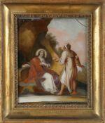 Hinterglasbild wohl Augsburg, 18. Jh.Versuchung Jesu, Evangelium nach Markus, dort heißt es: