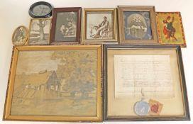 9 Bilder/Rahmen (19./20. Jh.).Div. Darstellungen und Techniken. Altersspuren, teils l. besch.