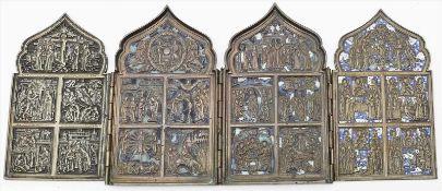 Reiseikone (Russland, 19. Jh.)4-teiliger Bronzekorpus, je mit 5 religösen Reliefdarstellungen (teils