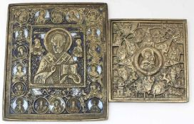 2 Reiseikonen (Russland, 19. Jh.)Bronze mit figürlichem Reliefdekor (1x mit Restemail). D. 10x 9,5