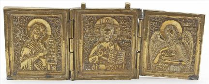 Reiseikone als Triptychon (Russland, 20. Jh.)Bronze mit Darstellungen unterschiedlicher Heiliger