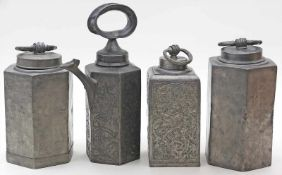 Schraubkanne und 3 -flaschen.Zinn. Verschiedene Ausführungen. Gebrauchsspuren und teils gedellt.