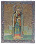 Ikone.Darstellung einer stehenden Heiligen. Farbig lithographiertes Blech. Wohl Russland, um 1900.