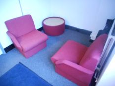 2 x RED ARMCHAIRS 2 X RED CHAIRS 1 x MATCHING RED TABLE 2 x BLACK CHAIRS and 1 x METAL COAT STAND