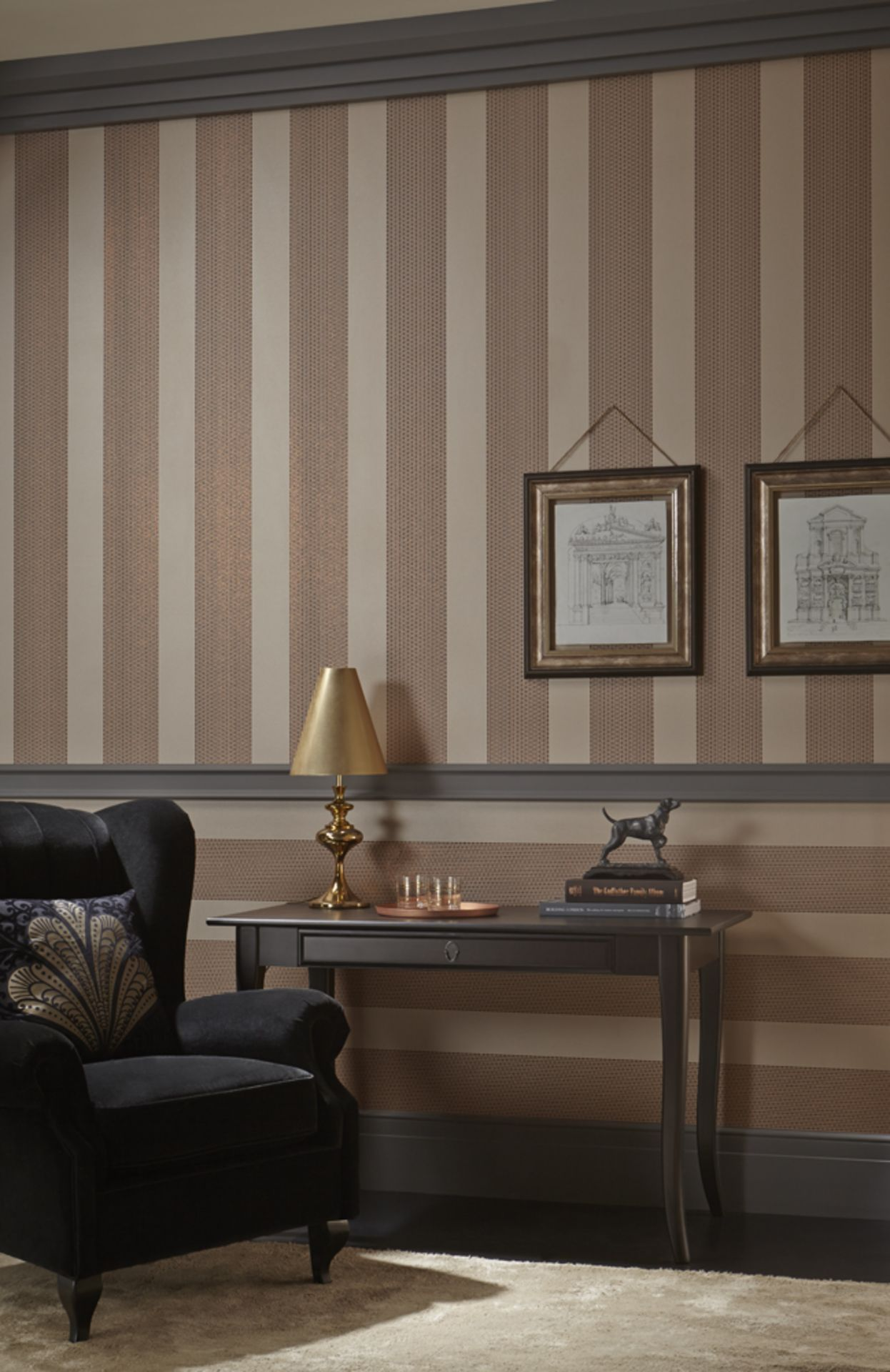 Lot 10 - 56 Arthouse Selina Stripe Copper wallcovering