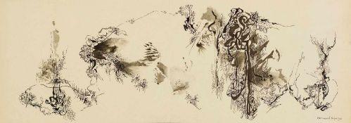 Schultze, Bernard (1915-2005)Zeichnung. Tuschfeder u. -pinsel, grau laviert, leichter Karton (