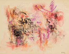 Schultze, Bernard (1915-2005)Zeichnung. Gouache, leichter Karton. Monogr. u. dat. 6/54 (Juni