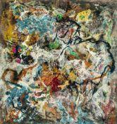 Schultze, Bernard (1915-2005)Ölfarben über Collage auf Leinwand. Rechts unten monogr. u. zweifach