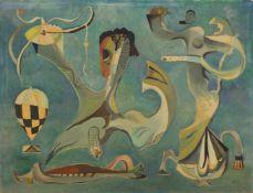 Schultze, Bernard (1915-2005)Nereide. Öl und Tempera auf Papier, rechts unten signiert und