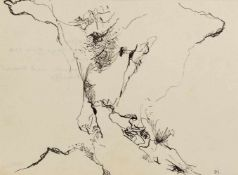Schultze, Bernard (1915-2005)Zeichnung. Tuschpinsel u. -feder, monogr. Verso eigenhändig: Frohe