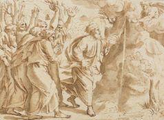 Badalocchio, Sisto(1581-1647), zugeschrieben. Moses schlägt Wasser aus dem Felsen. Zeichnung, nach