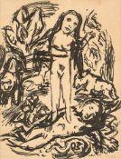 Beeh, René(1886-1922). Die Erschaffung Evas. Zeichnung. Tuschpinsel, mit Bleistift sign. 18,5:14,2
