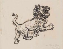 Beeh, René(1886-1922). Schreitender Löwe. Zeichnung. Tuschfeder u. Tuschpinsel. Signiert von Rosa