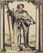 Antonio da Trento(1508-1550), Umkreis. Apostel Paulus. Radierung, Wz. Blüte (Teil). 25,6:20,5cm.