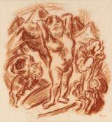 """Beeh, René""""(1886-1922). Frauenakt mit Katze vor Gebirgslandschaft. Zeichnung. Rötel, 1920, signiert."""
