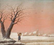 Bemmel, Georg Christoph Gottlieb II(1765-1811). Fränkischer Winter, im Vordergrund eine Frau, die