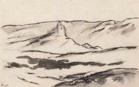 """Beeh, René""""(1886-1922). Spanische Landschaft in der Mancha, Illustration für einen Zyklus zu Don"""