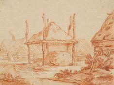 Barbiers, Pieter(1743-1842). Bauerngehöft. Zeichnung. Rötelstift, signiert P. Barbiers. 18,5:24,7