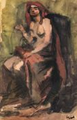 Beeh, René(1886-1922). Sitzende Frau. Aquarell, r.u. Stempelsignatur. 21:13,5cm. Modell – laut