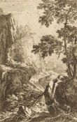 Beich, Joachim Franz(1665-1748). Felslandschaft mit Bergbach, Jäger und drei Ziegen. Radierung,