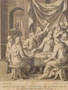 Barendsz, Dirck(1534-1592), nach. Jesus bei Simonis in Bethanien. Kupferstich, von Johannes I
