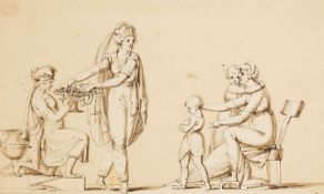 Ademollo, Luigi(1764-1849), zugeschrieben. Der Kinderkauf. Zeichnung. Tuschpinsel in Sepia. 12:19,