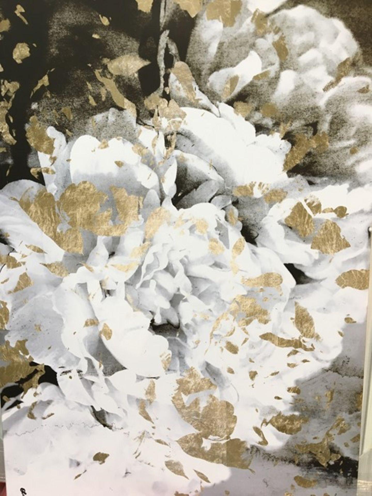 Lot 10BB - 1 GRADE A LANDSCAPE WHITE, GOLD, BLACK FLOWER CANV