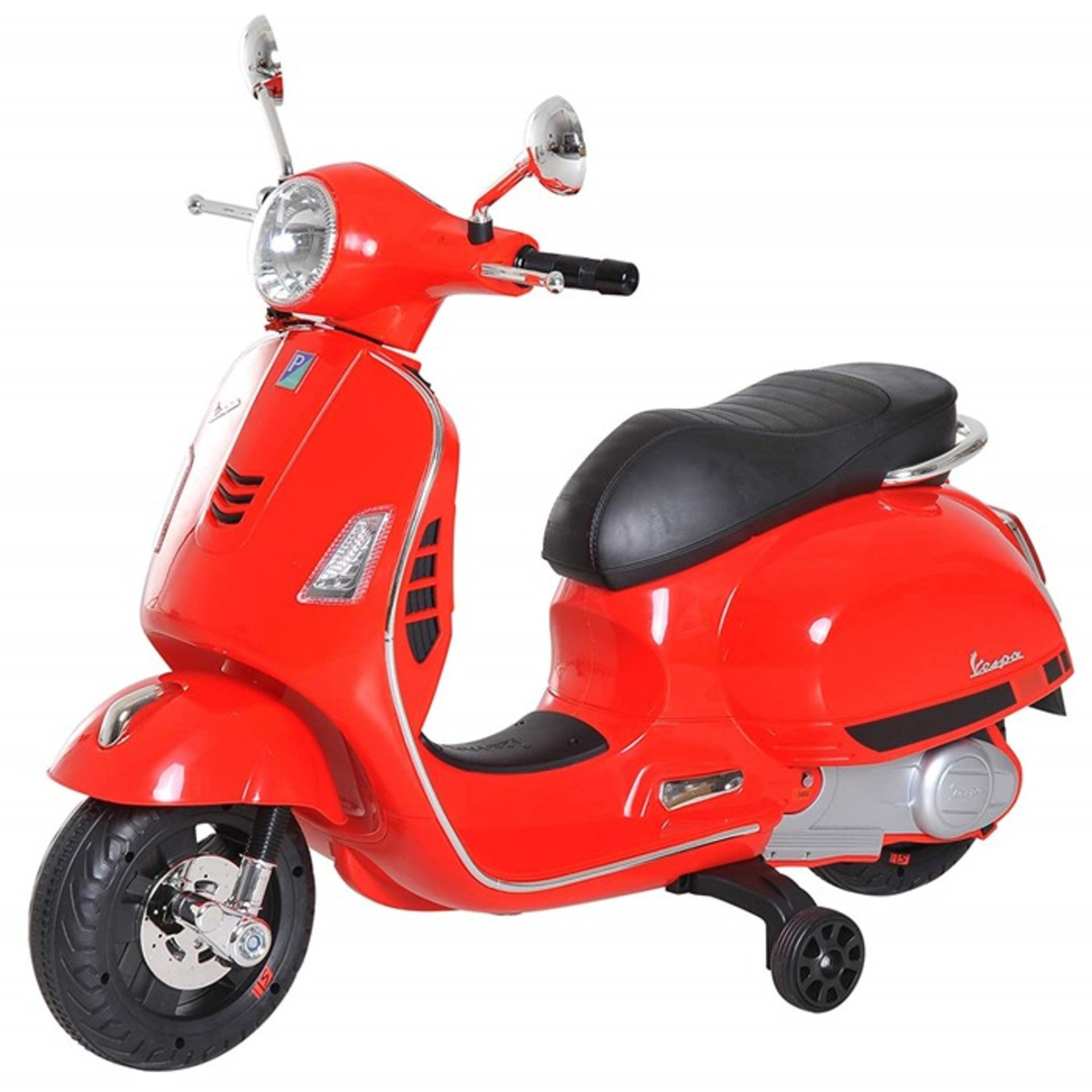 Lot 24 - 1 BOXED AS NEW CHILDRENS AGE 3+ VESPA RIDE ON SCOOTER IN RED RRP £81.99