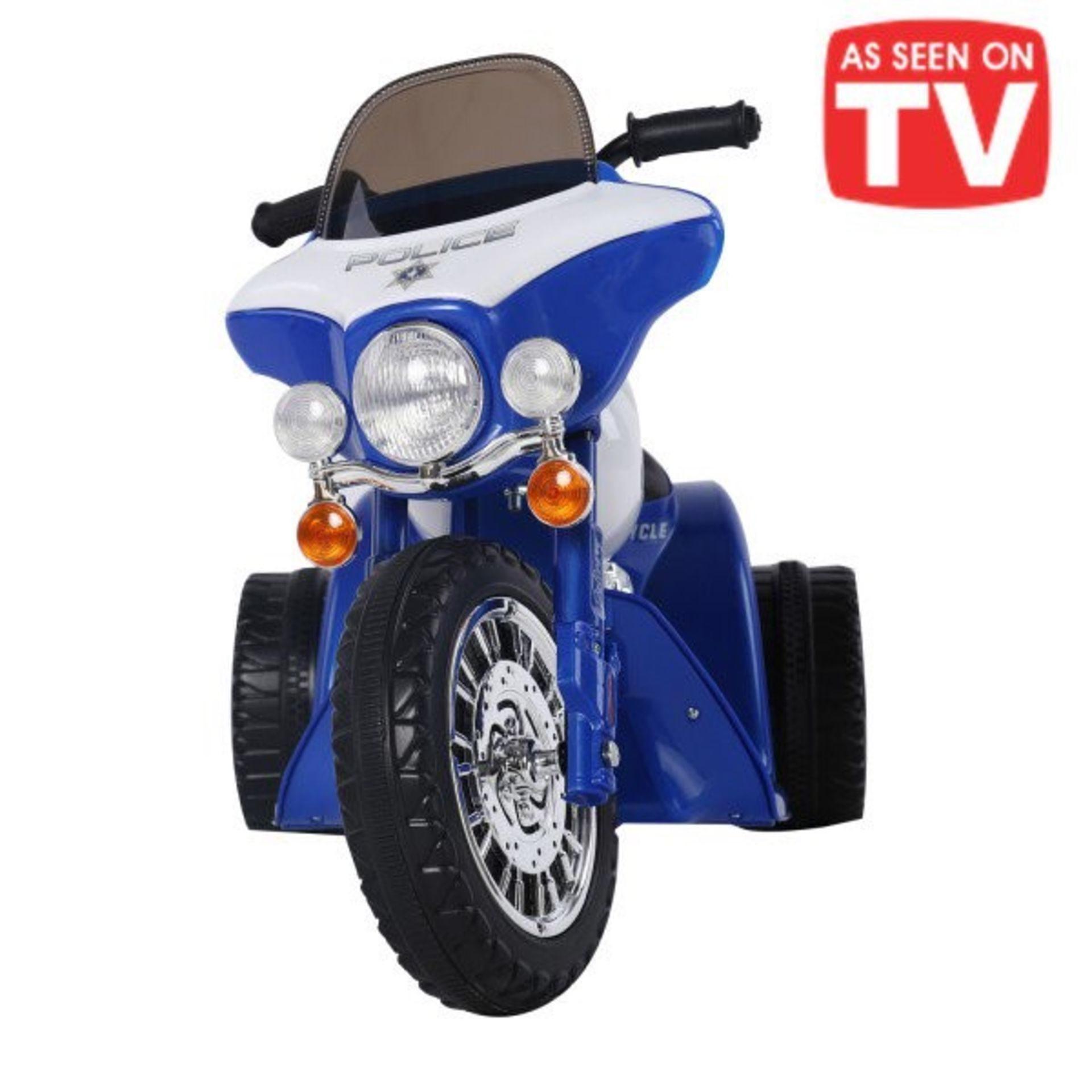 Lot 22 - 1 AS NEW BOXED CHILDRENS POLICE ELECTRIC RIDE ON TRICYCLE IN BLUE AND WHITE RRP £149.99