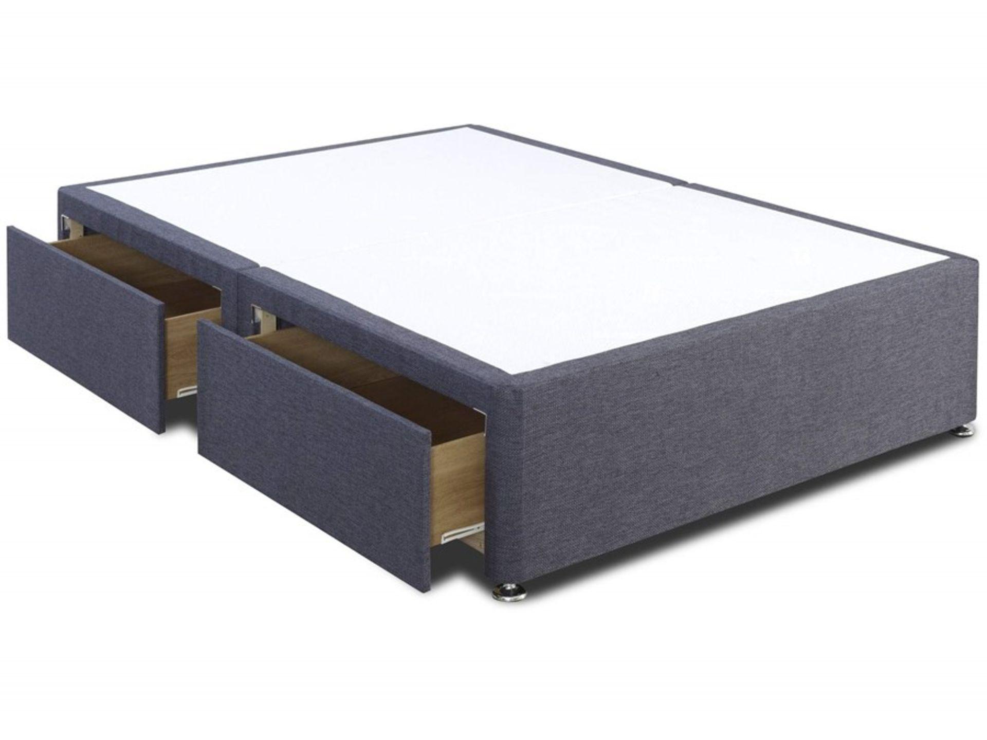 Lot 116 - 1 GRADE A BAGGED 2 DRAWER SINGLE PLATFORM TOP DIVAN BED BASE IN SLATE GREY - SIZE 3FT / RRP £249.