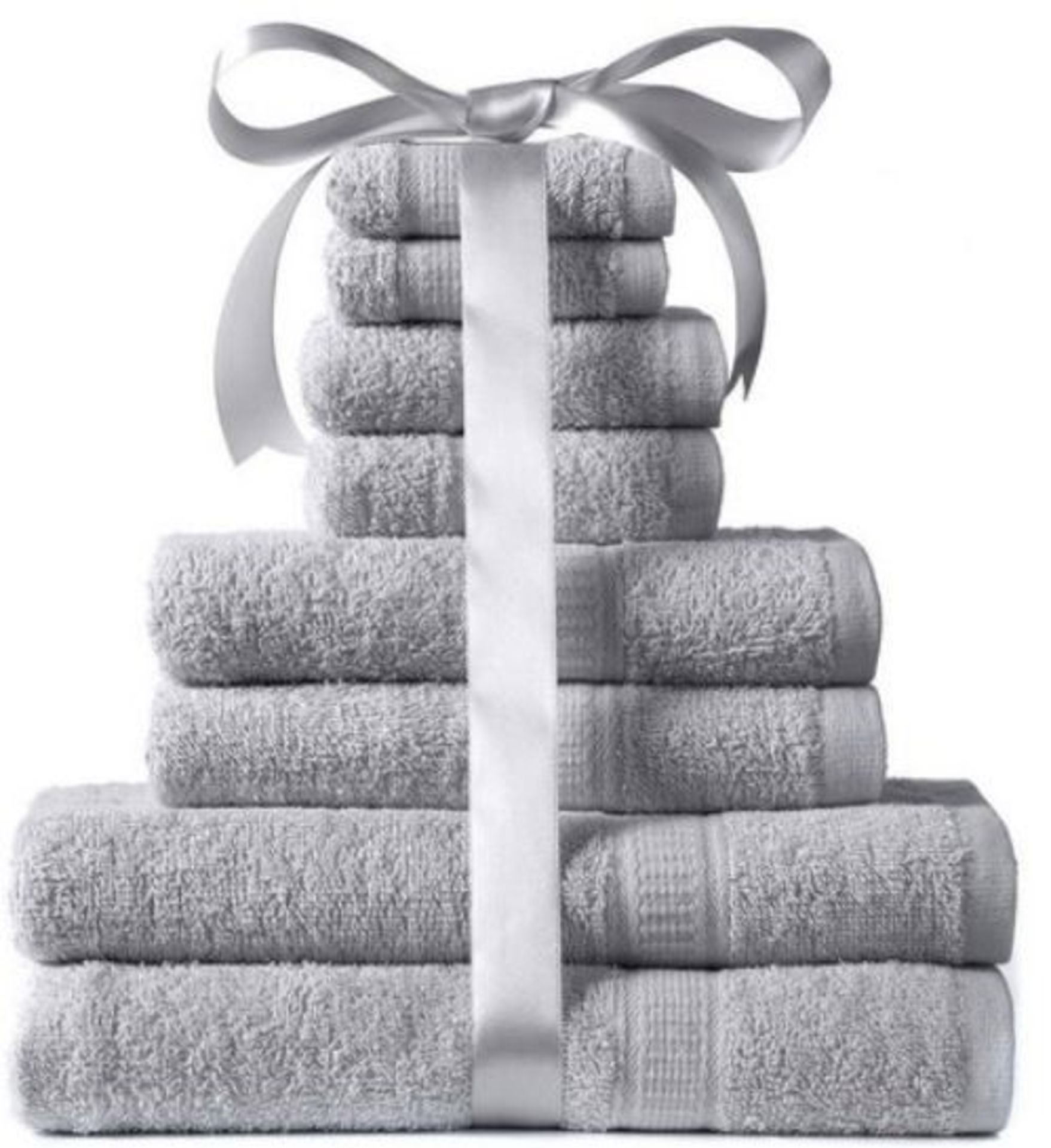 Lot 56 - 1 BAGGED 8 PIECE TOWEL BALE IN SILVER / RRP £24.99 (PUBLIC VIEWING AVAILABLE)