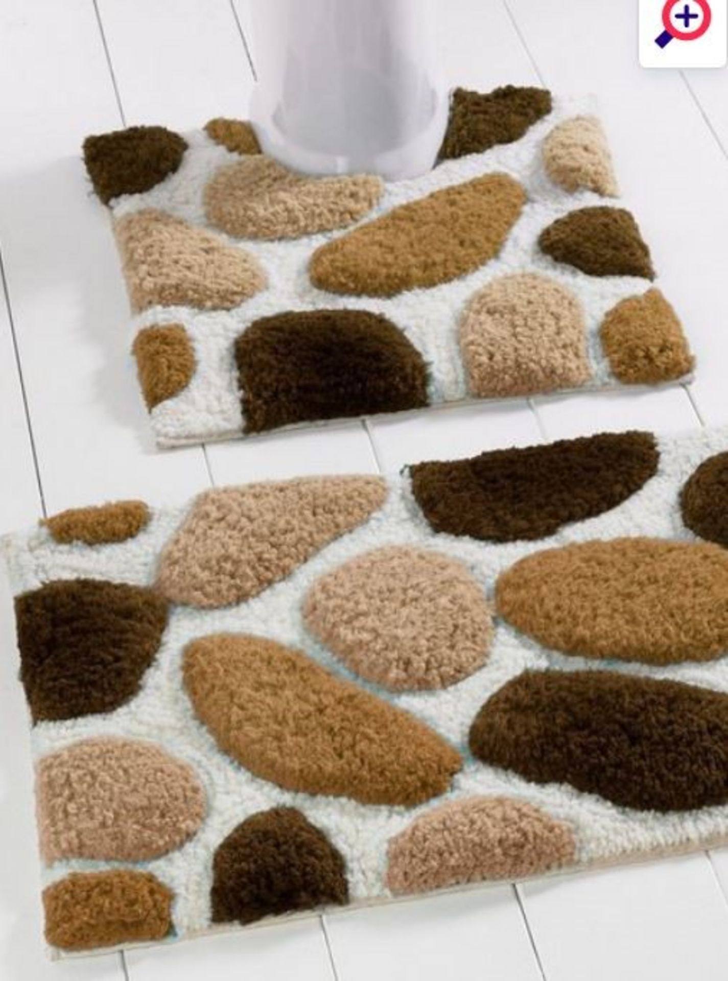 Lot 51 - 1 AS NEW BAGGED PEBBLE BATH MAT SET IN NATURAL (PUBLIC VIEWING AVAILABLE)