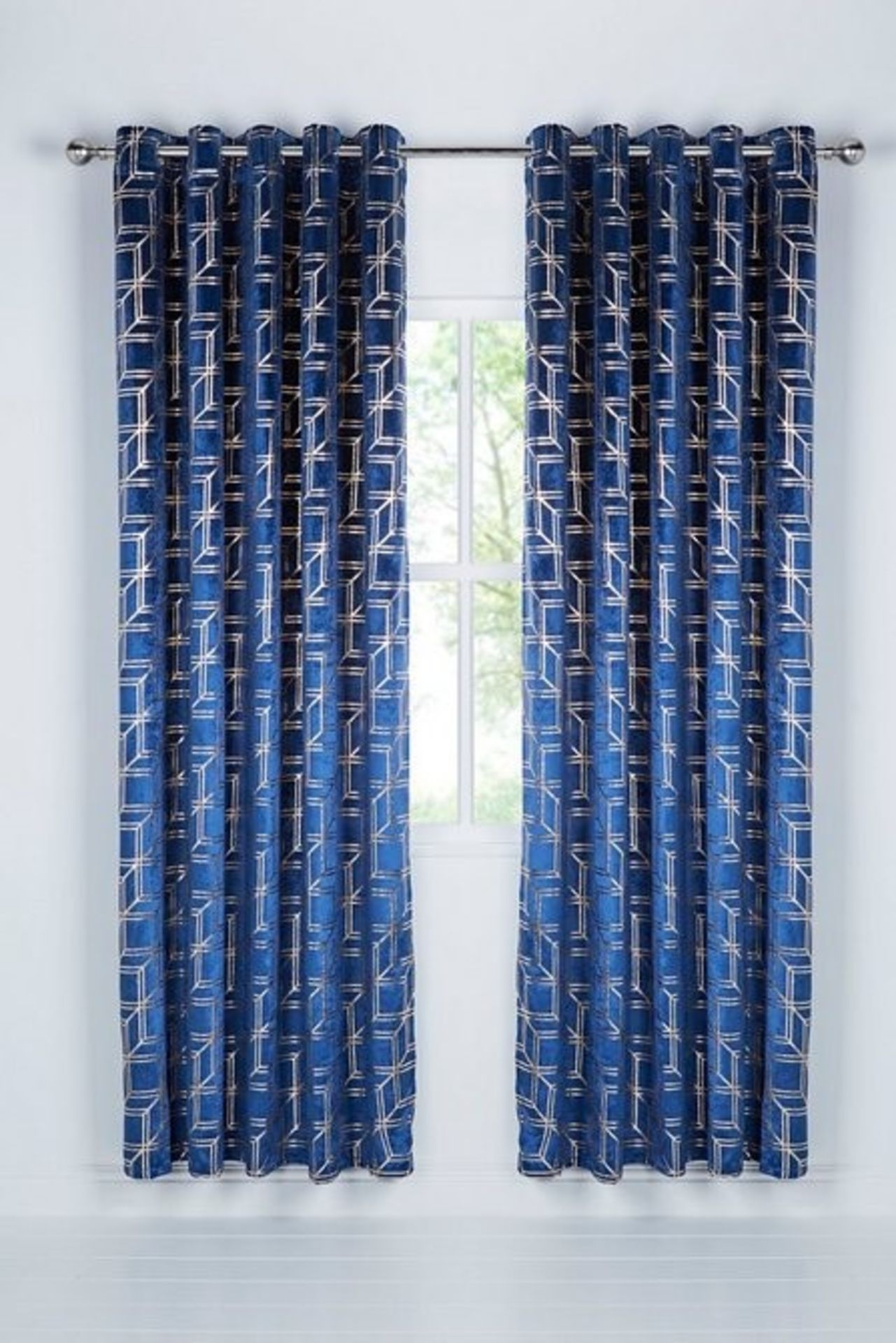 """Lot 33 - 1 BAGGED METALLIC CUBES VELVET UNLINED EYELET CURTAINS IN BLUE / SIZE: 90 X 90"""" / RRP £110.00 ("""