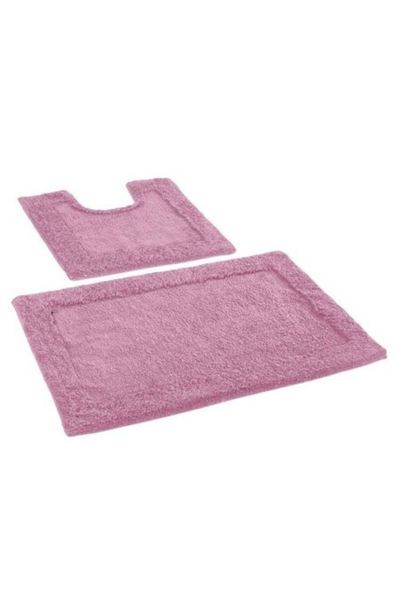 Lot 155 - 1 AS NEW BAGGED 2 PIECE BATH MAT SET IN BLUSH (PUBLIC VIEWING AVAILABLE)