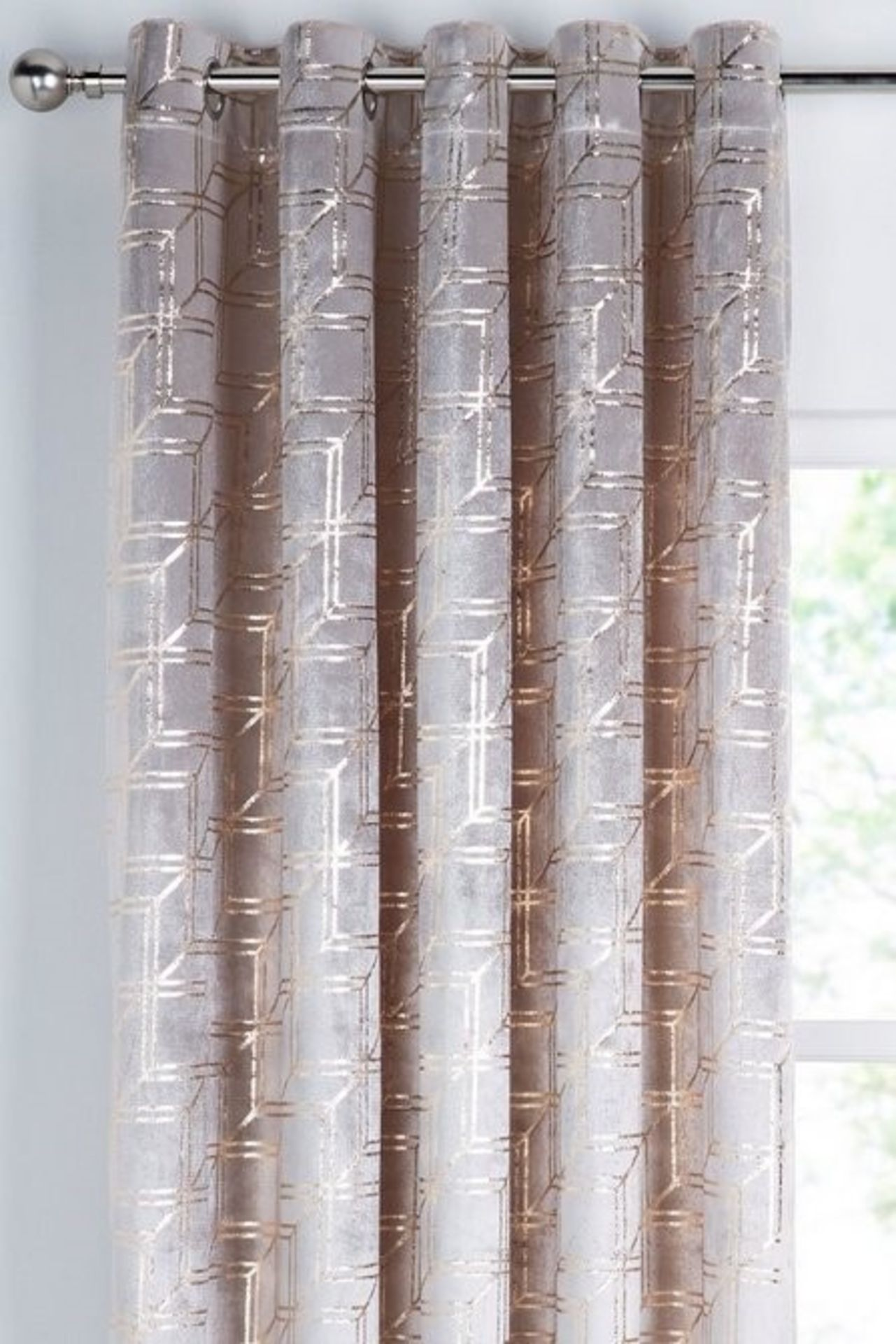 """Lot 27 - 1 BAGGED METALLIC CUBES VELVET EYELES CURTAINS IN NATURAL / 90X90"""" / RRP £110.00 (PUBLIC VIEWING"""