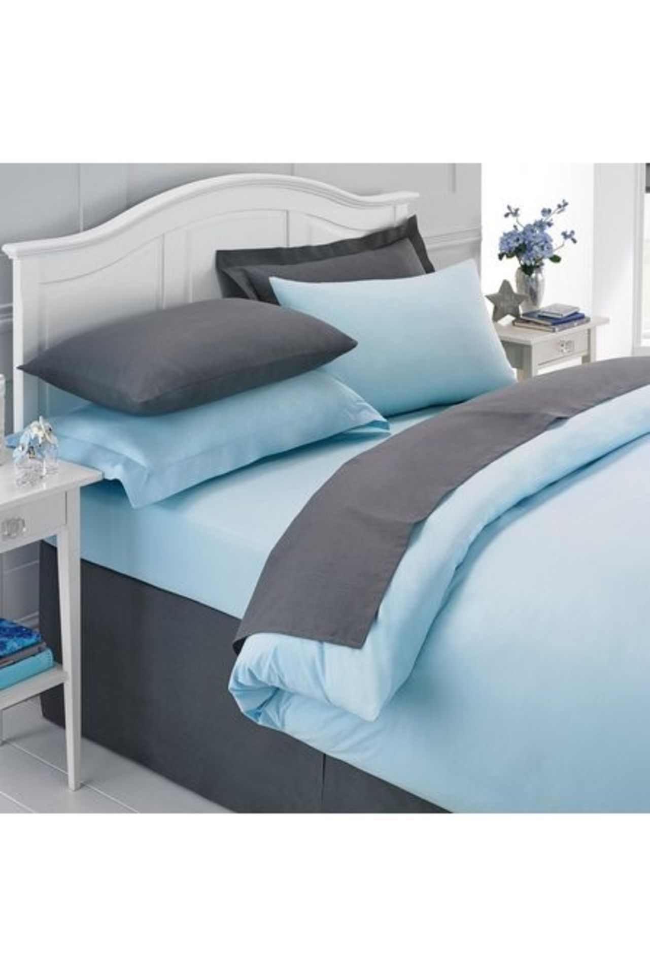 Lot 24 - 1 BAGGED PERCALE PLAIN DYED SINGLE DUVET COVER IN DUCK EGG / RRP £54.99 (PUBLIC VIEWING AVAILABLE)