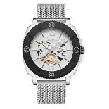 Men's LA Banus King Skeleton watch with stainless steel shark mesh strap. Silver colour. RRP £650