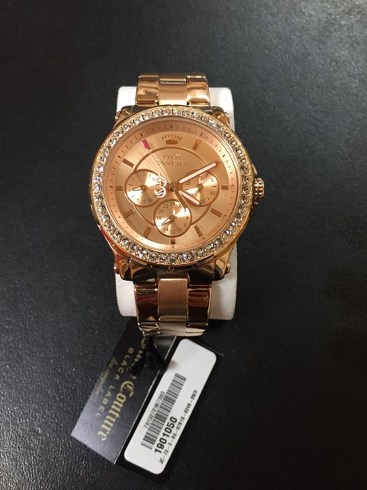 1 UNBOXED LADIES JUICY COUTURE PEDIGREE CHRONOGRAPH WATCH 1901050 IN ROSE GOLD / RRP £185.00 (