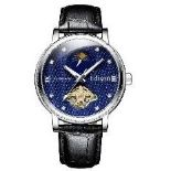 Men's Edison automatic moonphase watch with black leather strap and blue dial. RRP £600