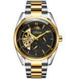 Men's Edison automatic moonphase watch with stainless steel silver and yellow gold colour strap, and