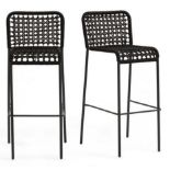 1 GRADE A BOXED DESIGNER METAL AND WOVEN CORD OUTDOOR HIGH BAR STOOLS IN BLACK / RRP £349.00 (PUBLIC
