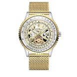 Men's LA Banus skeleton dial watch with shark mesh stainless steel strap. Yellow gold colour. RRP £