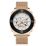 Men's LA Banus King Skeleton watch with stainless steel shark mesh strap. Rose gold colour. RRP £