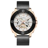 Men's LA Banus King Skeleton watch with stainless steel shark mesh strap. Gold and black colour. RRP