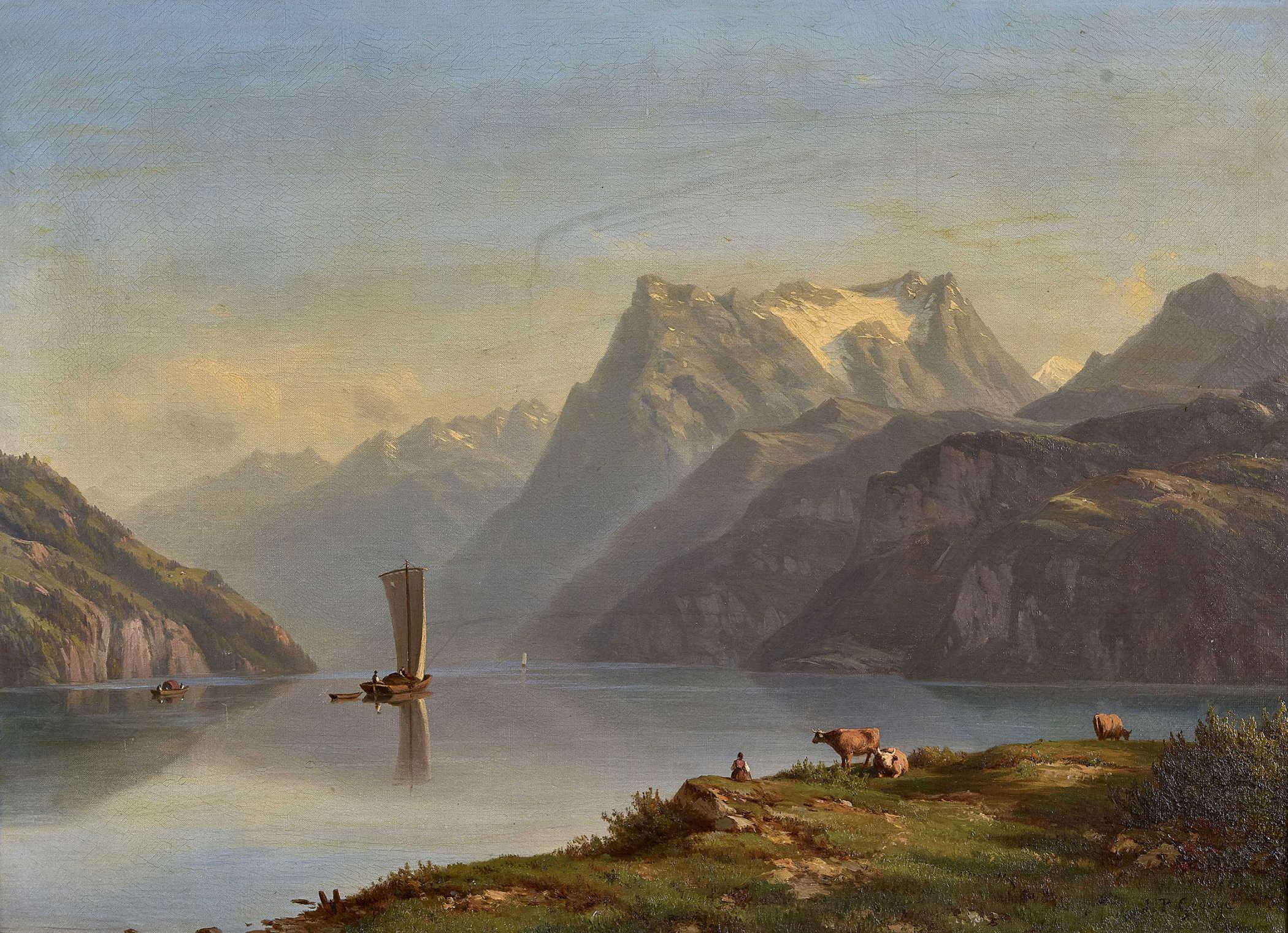 Lot 8 - GEORGE-JULLIARD, JEAN PHILIPPE1818 Genève 1888Vierwaldstättersee mit Urirotstock.Öl auf Leinwand,