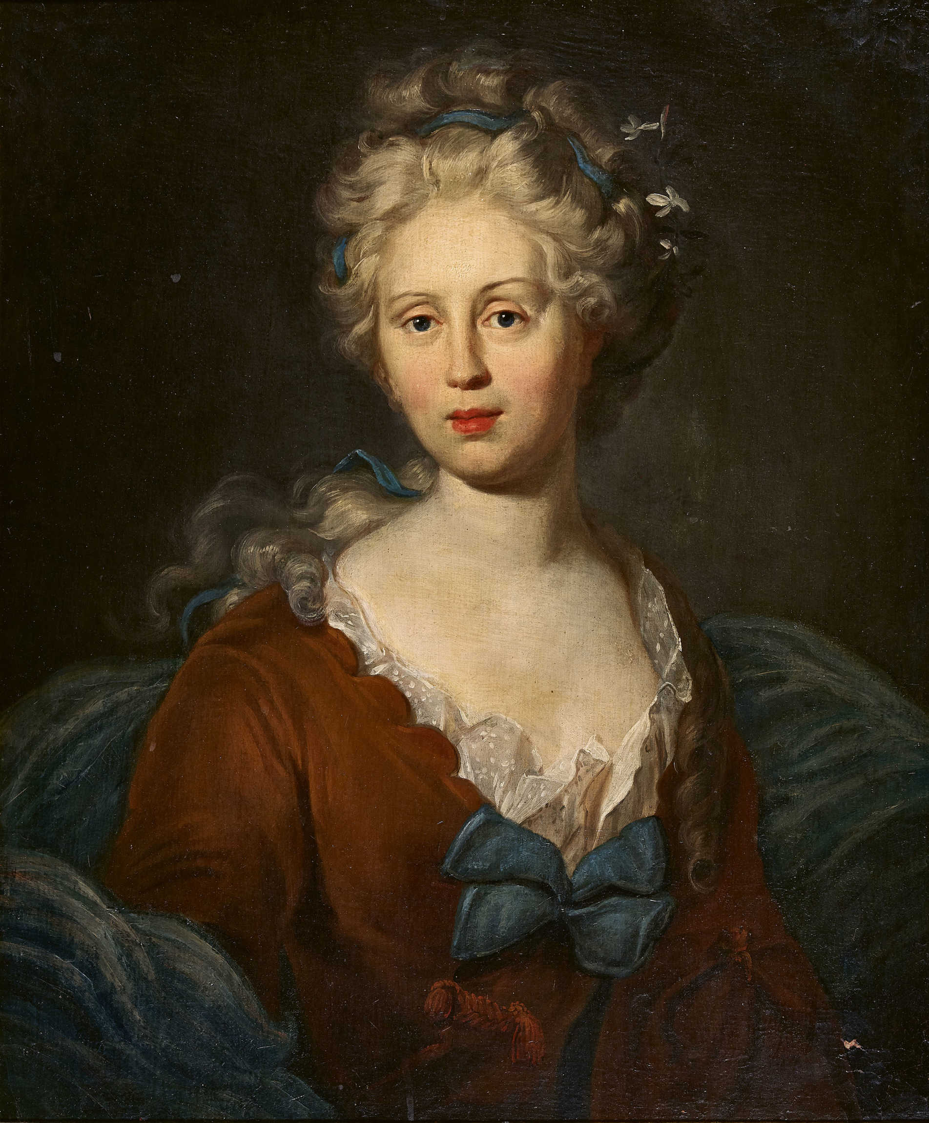 Lot 4 - SCHWEIZ, 18. JH.Brustbildnis einer Dame mit Haarband.Öl auf Leinwand, doubliert,68x57 cm- - -22.00 %