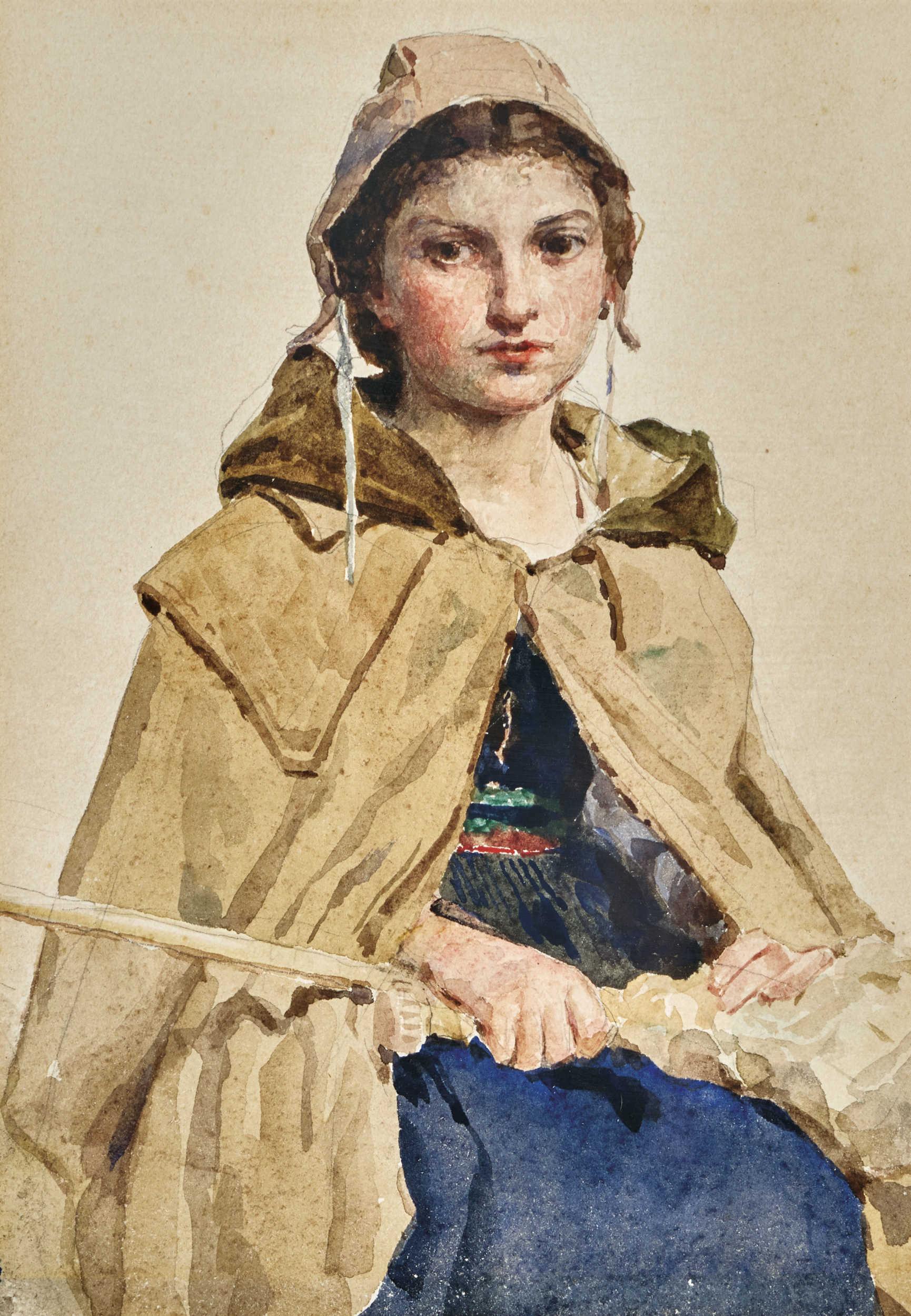 Lot 41 - ANKER, ALBERT1831 Ins 1910Mädchen mit Spinnrocken.Aquarell über Bleistift,24x17 cm (LM)